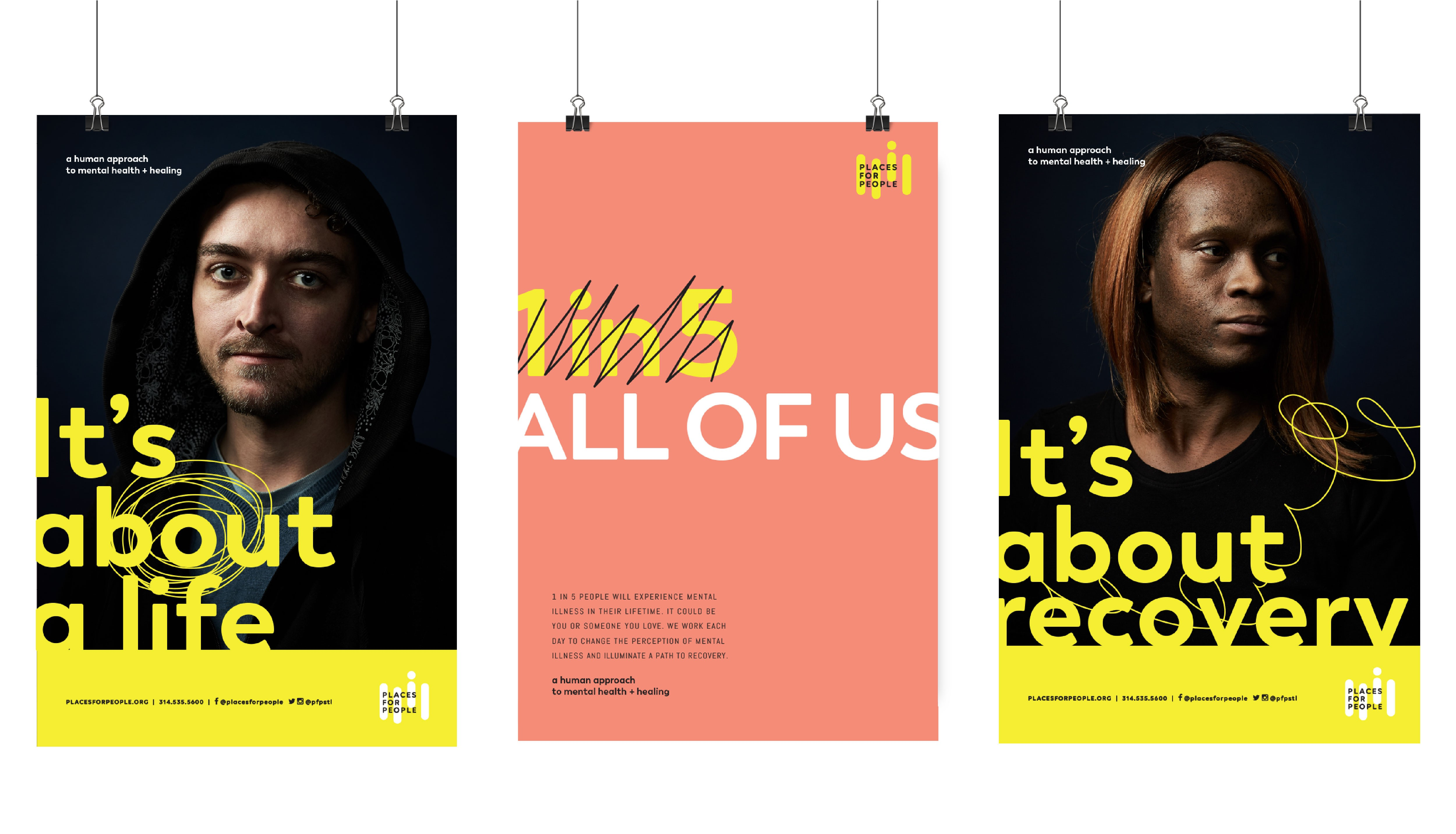 places for people new brand posters saying it's about a life, it's about recovery
